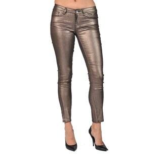 Machine Brand Skinny Fashion Solid Coated Shiny Brown Pants