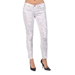 Machine Brand Skinny Fashion Printed Light Purple Pants