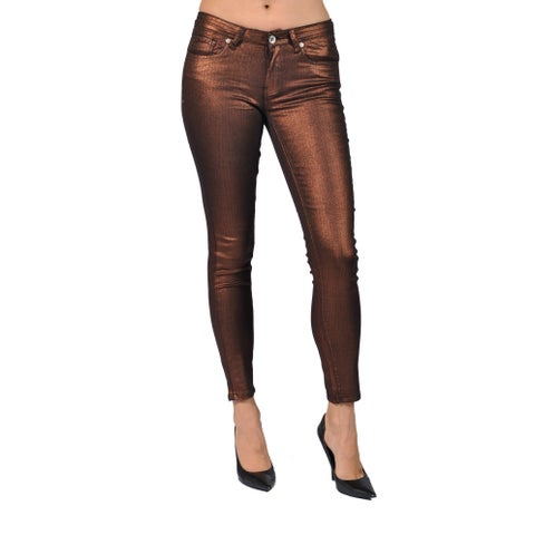 Machine Brand Skinny Fashion Solid Coated Copper Pants