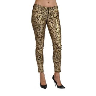 Machine Brand Skinny Fashion Print Coated Floral Gold Pants|https://ak1.ostkcdn.com/images/products/15274337/P21744386.jpg?impolicy=medium