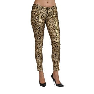 Machine Brand Skinny Fashion Print Coated Floral Gold Pants