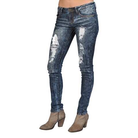 Machine Brand Skinny Fashion Ripped Jeans Dark Wash