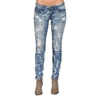 Machine Brand Skinny Fashion Ripped Jeans Blue