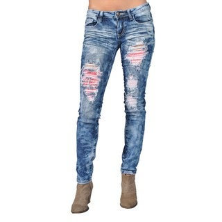 Machine Brand Skinny Fashion Ripped Jeans Blue with Pink Lace