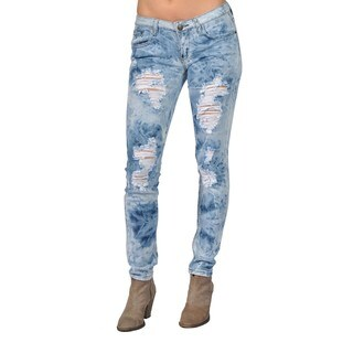 Machine Brand Skinny Fashion Ripped Jeans Blue