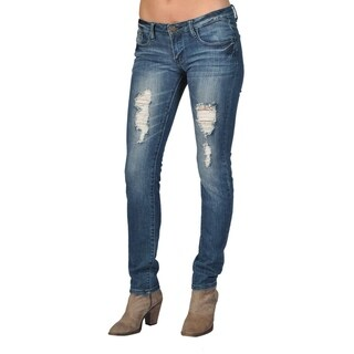 Machine Brand Skinny Fashion Ripped Jeans Dark Wash