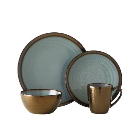 Gourmet Basics by Mikasa Anastasia Blue Stoneware 16-piece Dinnerware Set