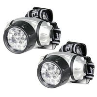 Hands Free 7 LED Adjustable Head Strap Super Bright Head Lamp Pivoting Light (Pack of 2)