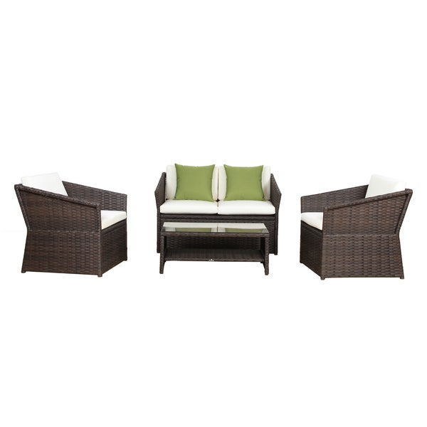 broyerk 4 pcs outdoor sofa set wicker garden patio furniture rattan - Garden Furniture Sofa Sets