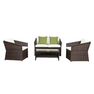 BroyerK 4 Pcs Outdoor Sofa Set Wicker Garden Patio Furniture Rattan