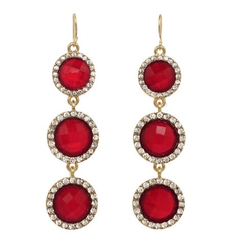 Triple Drop Faceted Lucite with Rhinestone Earrings