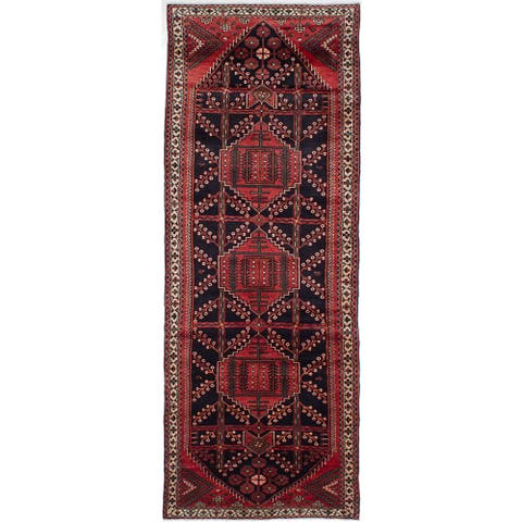 eCarpetGallery Koliai Blue/Red Wool Hand-knotted Runner Rug (3'8 x 9'8)