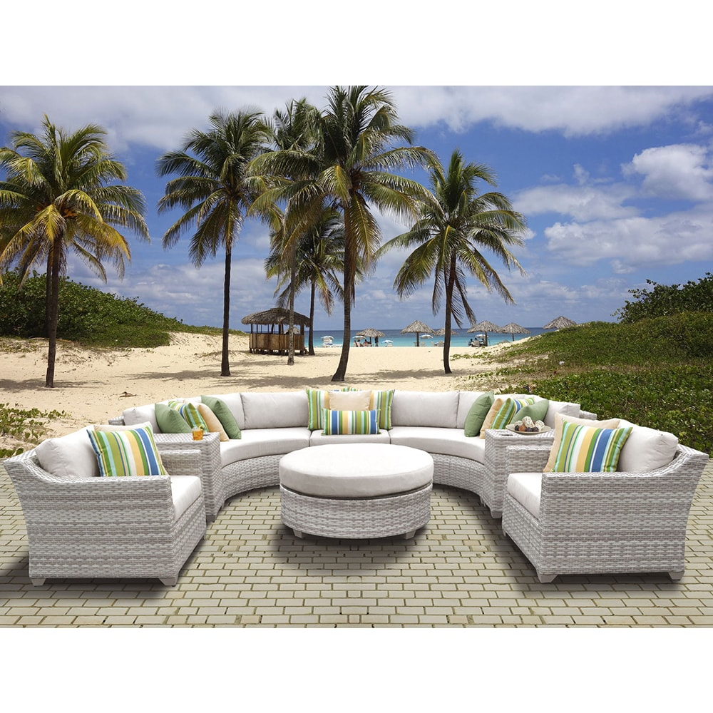 Fairmont Outdoor Wicker 8 Piece Sectional Seating Group with Cushion