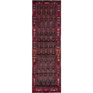 eCarpetGallery Hand-Knotted Malayer Blue/Red Wool Rug (3'6 x 13'5)