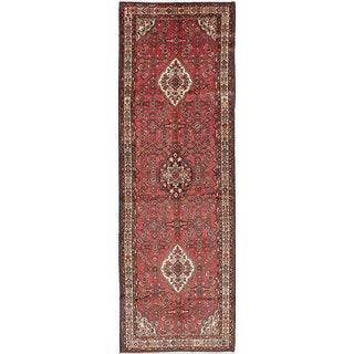 eCarpetGallery Hosseinabad Red Wool Hand-knotted Rug (4'1x13')