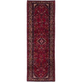 eCarpetGallery Hamadan Red Wool Hand-knotted Runner Rug (3'5 x 10'0)