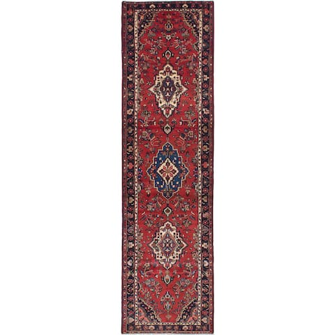eCarpetGallery Hamadan Brown Wool and Cotton Hand-knotted Rug (3'4 x 12'11)