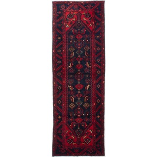 eCarpetGallery Hand-knotted Asadabad Blue and Red Wool Rug - 3'4x10'