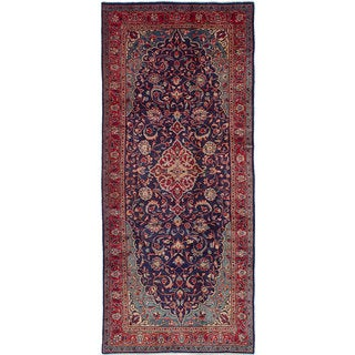 ecarpetgallery Hand-Knotted Mahal Blue Wool Rug (4'4 x 10'2)