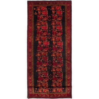 eCarpetGallery Zanjan Black/Red Wool Hand-knotted Rug (4'10 x 13'6)