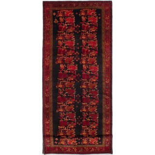 eCarpetGallery Zanjan Black/Red Wool Hand-knotted Rug (4'10 x 13'6)