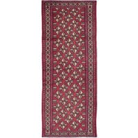 ecarpetgallery Hand-Knotted Persian Vintage Red  Wool Rug (3'7 x 9'0)