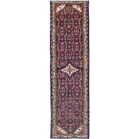 eCarpetGallery Hamadan Blue Wool Hand-knotted Rug - 3'5 x 12'6