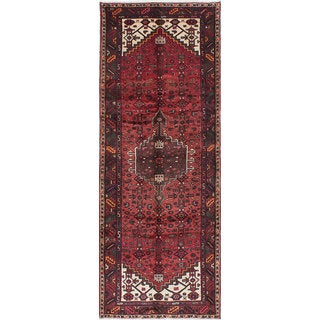 eCarpetGallery Hamadan Red Wool Hand-knotted Rug (3'7 x 9'6)