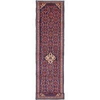 eCarpetGallery Hosseinabad Blue Wool/Cotton Hand-knotted Runner Rug - 3'2 x 13'