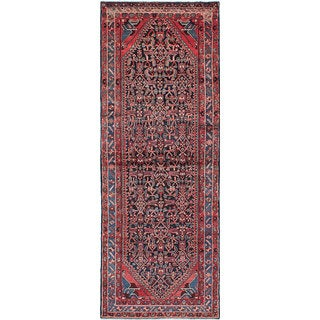 eCarpetGallery Hand-knotted Hosseinabad Blue Wool Rug - 3'10 x 10'4