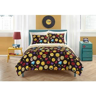 Emoji Pals Black 7-piece Bed in a Bag Set|https://ak1.ostkcdn.com/images/products/15274588/P21744585.jpg?impolicy=medium