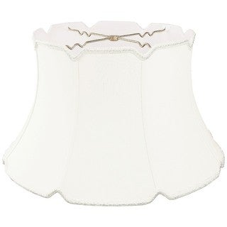 Royal Designs White Silk Shallow Drum with V-notch Bottom Designer Lamp Shade