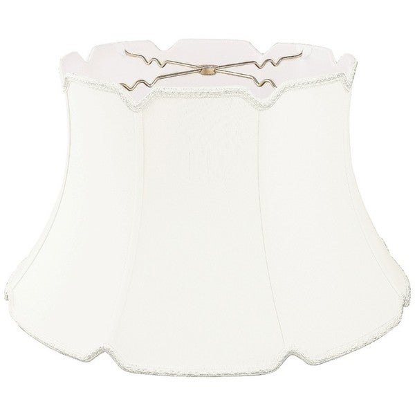 Royal Designs White Silk Shallow Drum Designer Lamp Shade with V-notch Bottom
