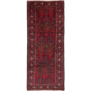 ecarpetgallery Hand-Knotted Persian Vintage Black, Red Wool Rug (3'9 x 9'2) (Option: Black)