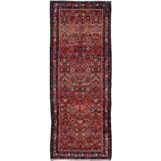 eCarpetGallery Persian Vintage Brown Wool Hand-knotted Runner Rug (3'8 x 9'10)