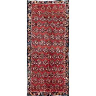 eCarpetGallery Red Wool Hand-knotted Rug (4'5 x 10'6)