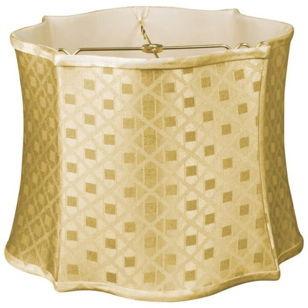 Royal Designs Fancy Scalloped Square Designer Lamp Shade, Gold, 13 x 14 x 10.5