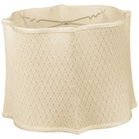 Royal Designs Fancy Scalloped Square Designer Lamp Shade, Beige, 13 x 14 x 10.5