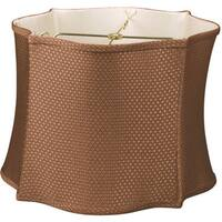 Royal Designs Fancy Scalloped Square Designer Lamp Shade, Brown 12 x 13 x 10