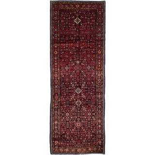 eCarpetGallery Black/Red Wool Hand-knotted Rug (4'0 x 11'8)