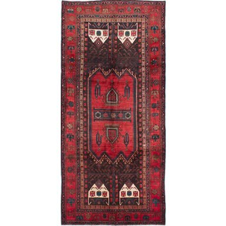 eCarpetGallery Hand-Knotted Zanjan Black and Red Wool Rug - 4'10x10'7