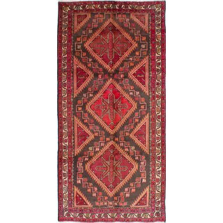 eCarpetGallery Traditional Zanjan Grey/Red Geometric Wool Hand-knotted Rug - 5'0 x 10'5