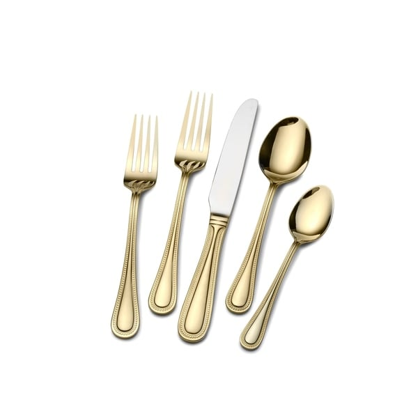 St. James Gold Euro Bead Gold Plated 45-piece Flatware Set. Opens flyout.