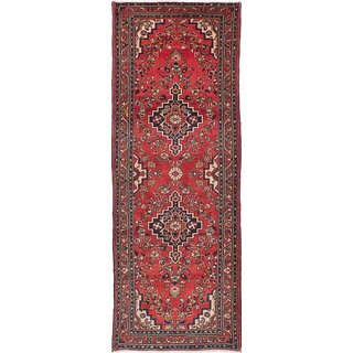 eCarpetGallery Hand-knotted Hamadan Red Wool Rug - 3'10 x 10'6