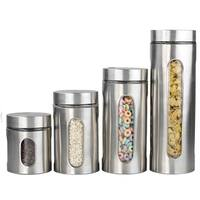 Sweet Home Collection Stainless Steel 4 Piece Canister Set