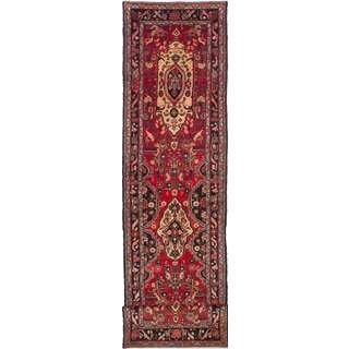 eCarpetGallery Hamadan Red Wool Hand-knotted Area Rug (3'5x14'2)