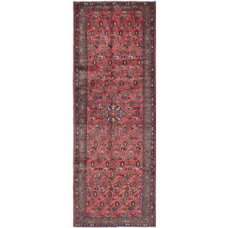 eCarpetGallery Red Wool Hand-knotted Hamadan Rug (3'4 x 9'5)