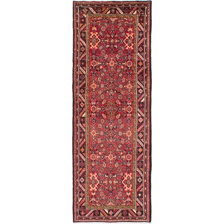 eCarpetGallery Hosseinabad Red Wool Hand-knotted Funner Rug (3'7 x 10'6)