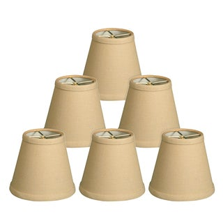 Royal Designs Beige Silk 5-inch Hardback Empire Chandelier Lampshades (Pack of 6)