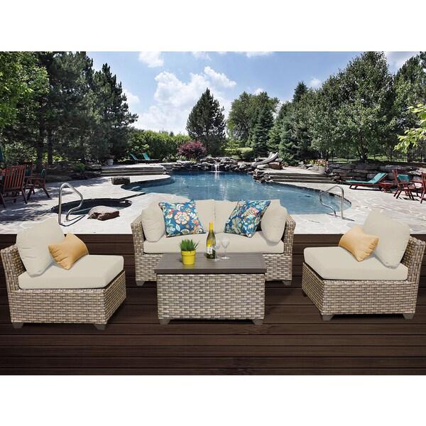 Monterey 5 Piece Outdoor Wicker Patio Furniture Set 05c. Opens flyout.